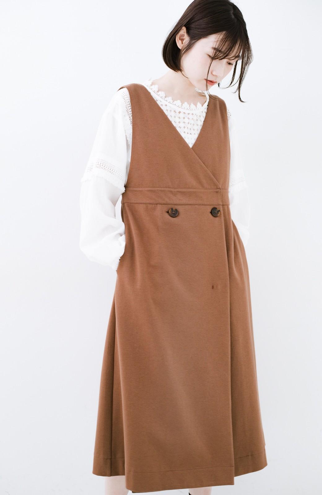 haco! 【ブラック残りわずか!】頑張りすぎずにちゃんとかわいい カットソージャンパースカート <ライトブラウン>の商品写真3