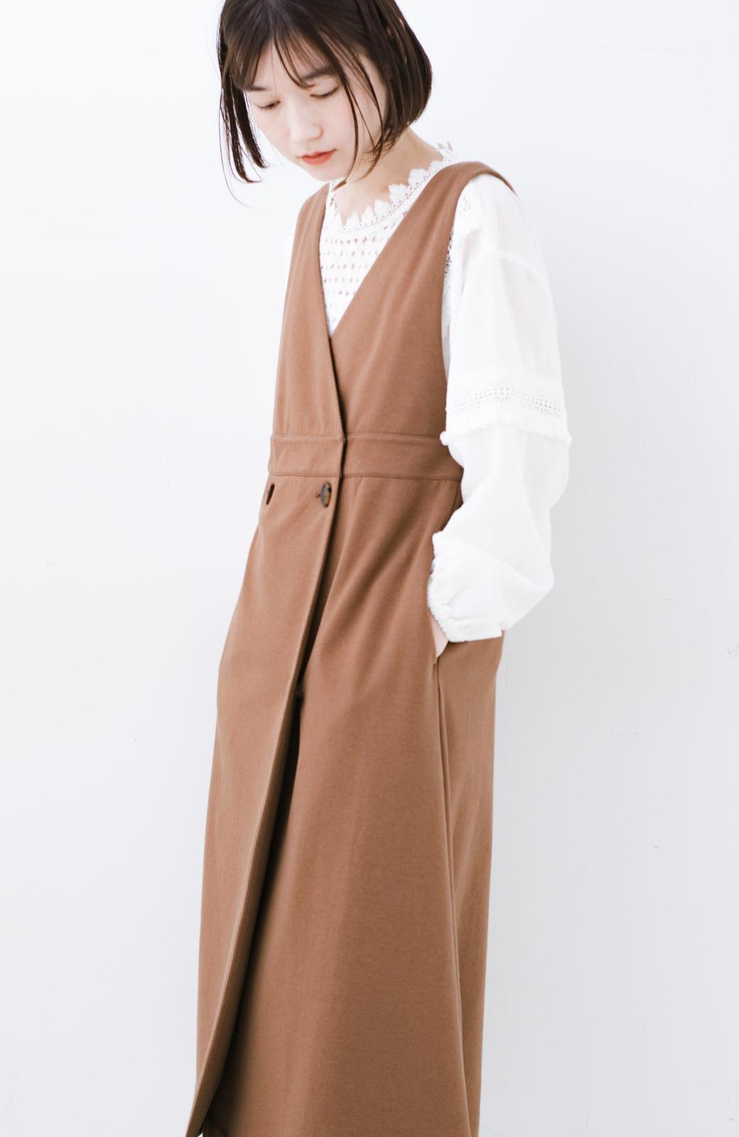 haco! 【ブラック残りわずか!】頑張りすぎずにちゃんとかわいい カットソージャンパースカート <ライトブラウン>の商品写真17