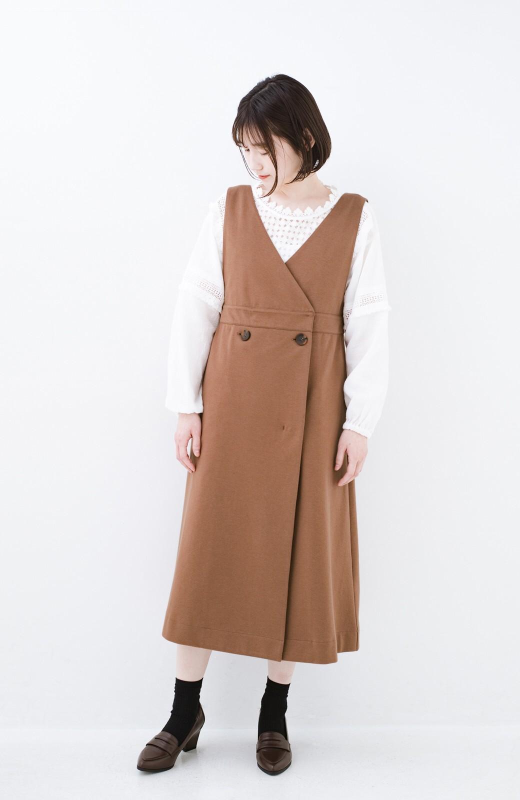 haco! 【ブラック残りわずか!】頑張りすぎずにちゃんとかわいい カットソージャンパースカート <ライトブラウン>の商品写真10