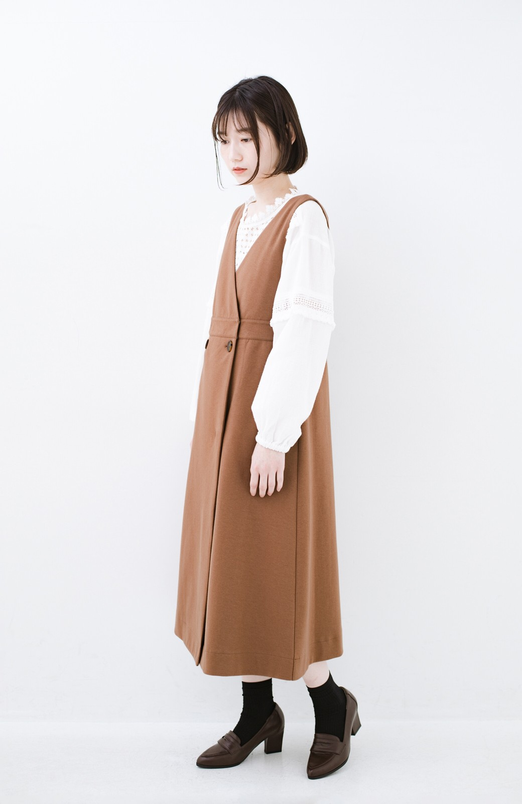 haco! 【ブラック残りわずか!】頑張りすぎずにちゃんとかわいい カットソージャンパースカート <ライトブラウン>の商品写真12