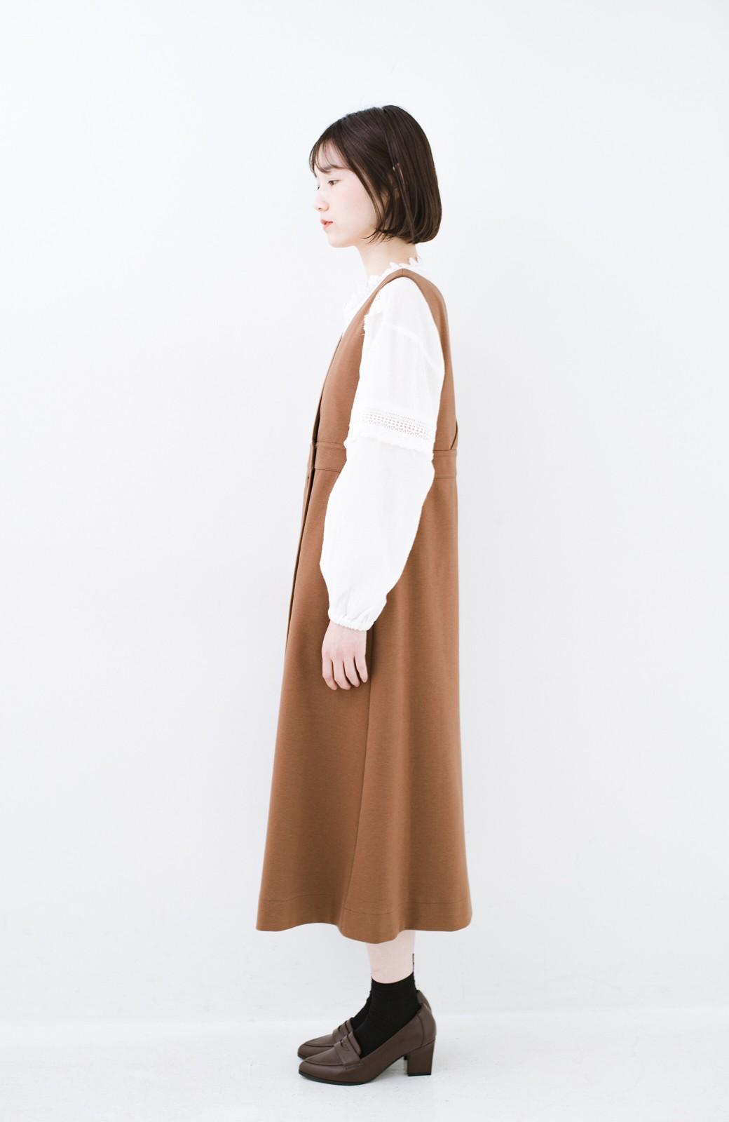 haco! 【ブラック残りわずか!】頑張りすぎずにちゃんとかわいい カットソージャンパースカート <ライトブラウン>の商品写真13