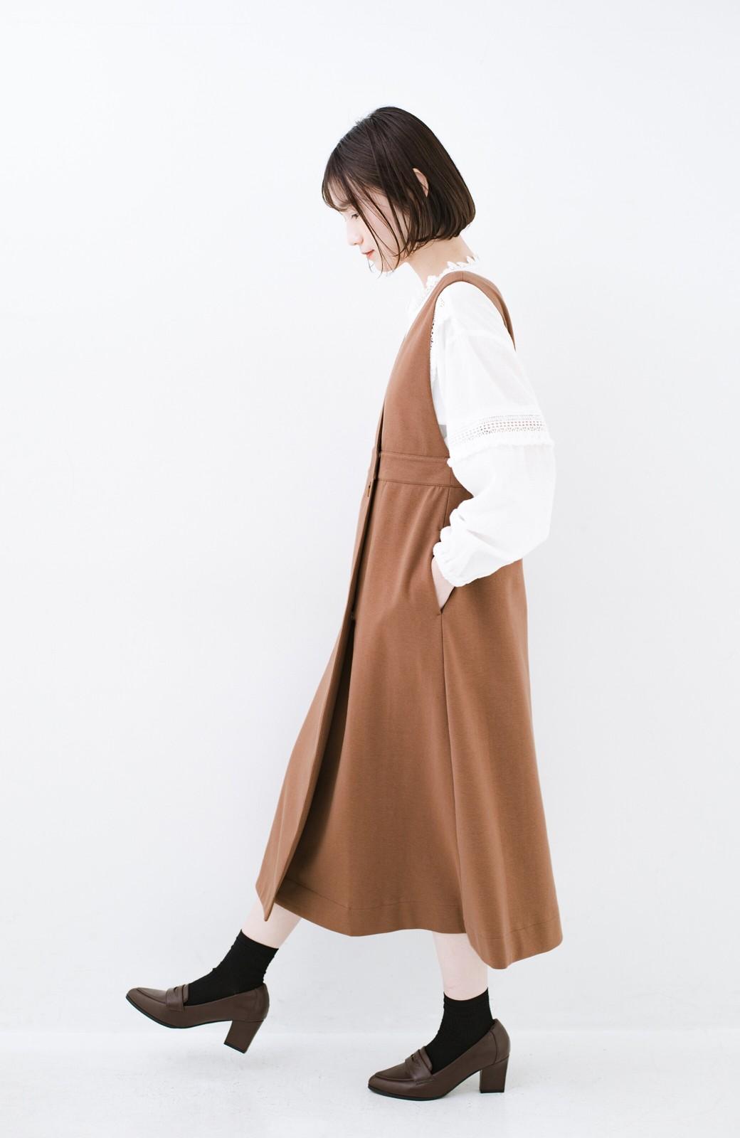 haco! 【ブラック残りわずか!】頑張りすぎずにちゃんとかわいい カットソージャンパースカート <ライトブラウン>の商品写真14