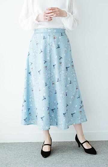 haco! 〈KANA MATSUNAMIテキスタイル〉思い出づくりに一役買う とっておきフレアースカート <ブルー系その他>の商品写真