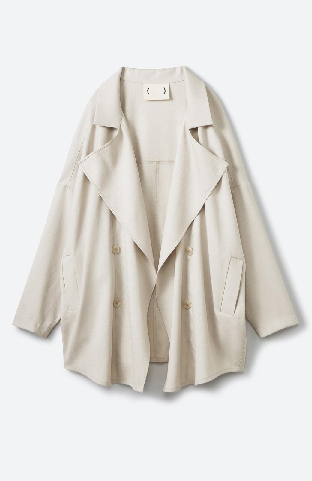 haco! いつものスタイルに羽織るだけで今気分が叶う 麻調トレンチジャケット <ライトベージュ>の商品写真1