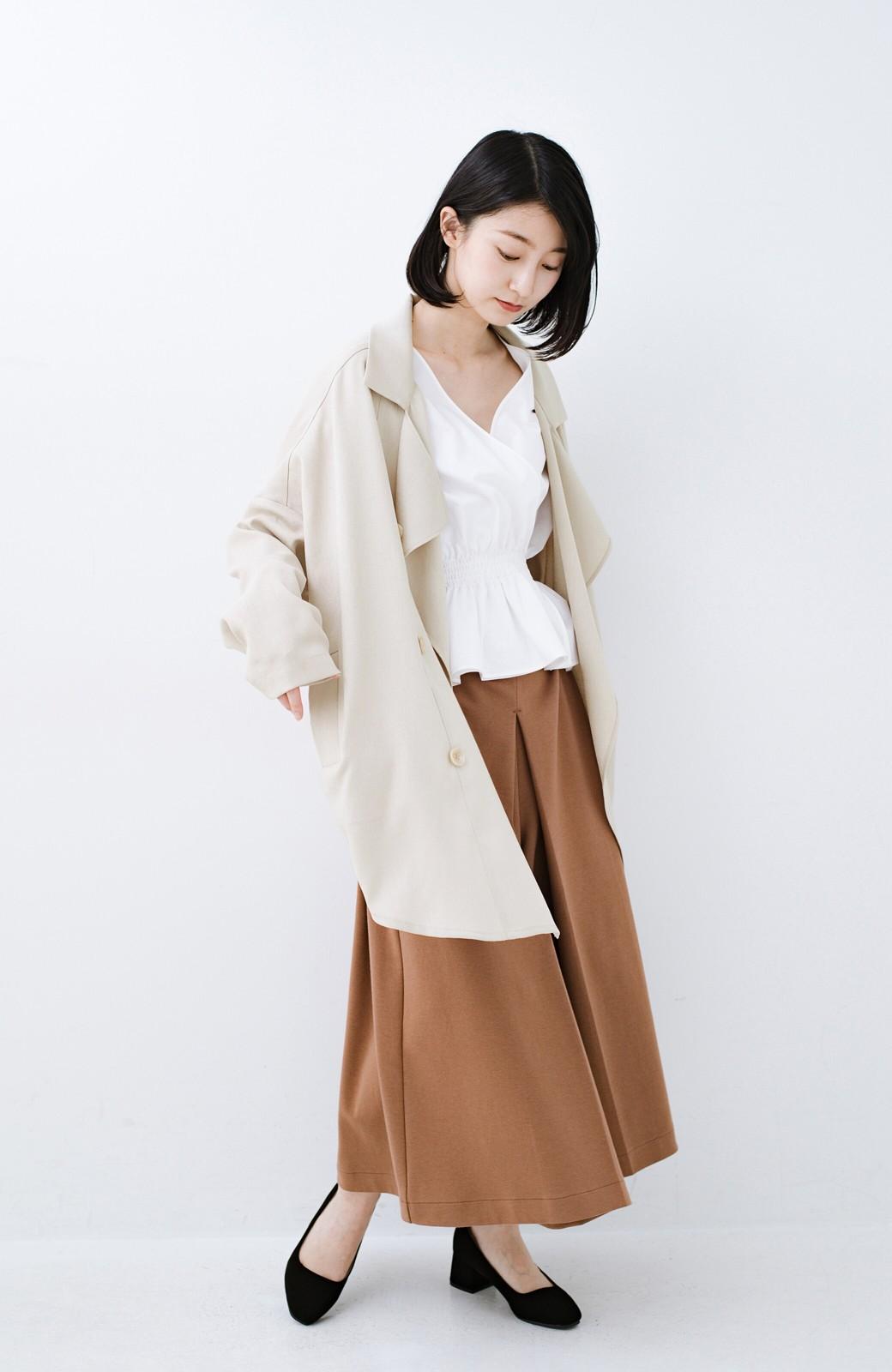 haco! いつものスタイルに羽織るだけで今気分が叶う 麻調トレンチジャケット <ライトベージュ>の商品写真5