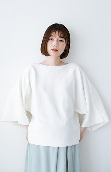 haco! 長ーーい季節着られてきちんとみせてくれる 便利なミラノリブニット <ホワイト>の商品写真