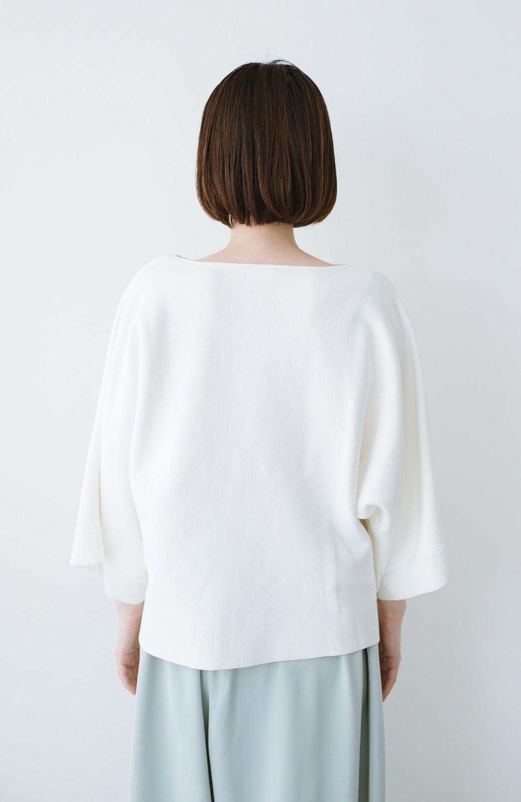 haco! 長ーーい季節着られてきちんとみせてくれる 便利なミラノリブニット <ホワイト>の商品写真12