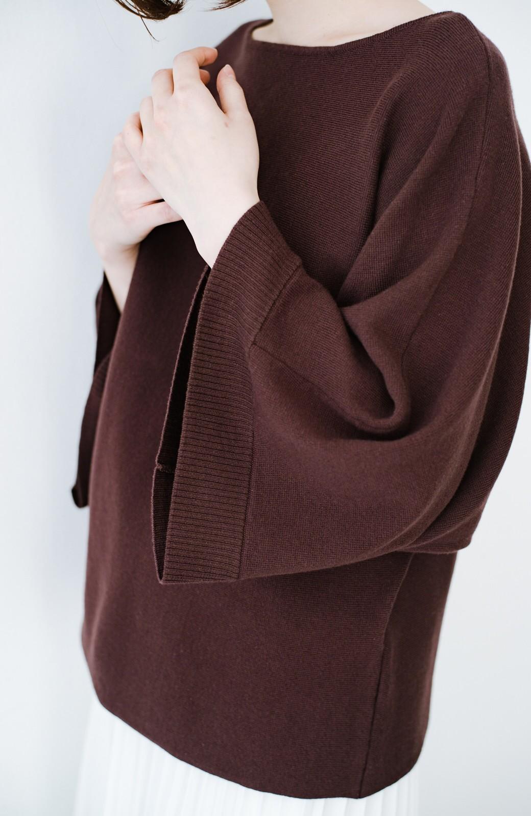 haco! 長ーーい季節着られてきちんとみせてくれる 便利なミラノリブニット <ブラウン>の商品写真4