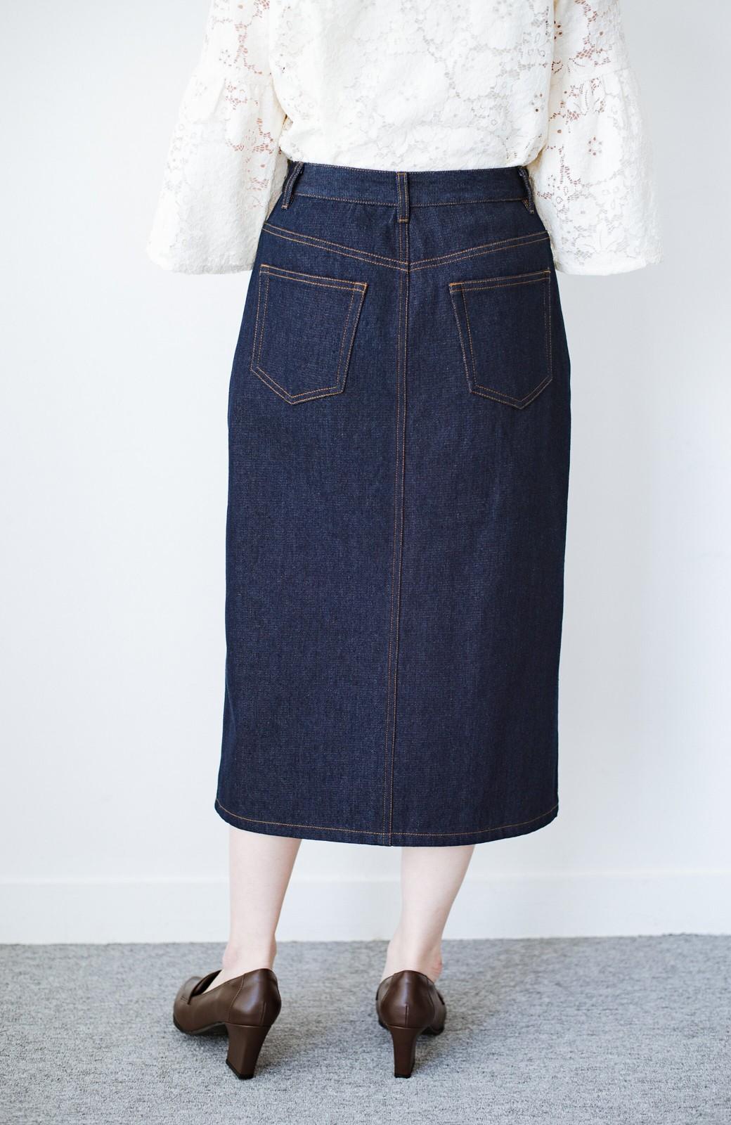 haco! 大人のためのIラインシルエットのデニムタイトスカート by que made me <インディゴブルー>の商品写真6