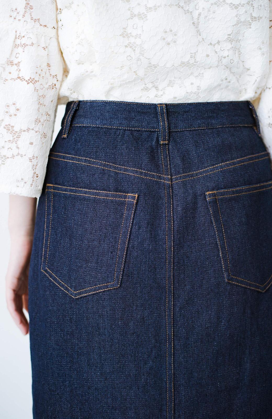 haco! 大人のためのIラインシルエットのデニムタイトスカート by que made me <インディゴブルー>の商品写真8