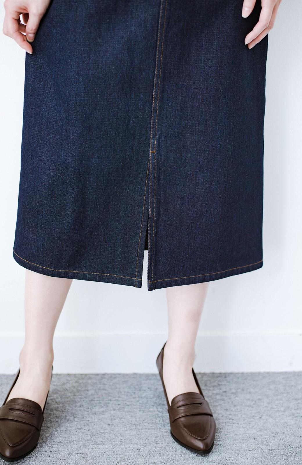 haco! 大人のためのIラインシルエットのデニムタイトスカート by que made me <インディゴブルー>の商品写真9