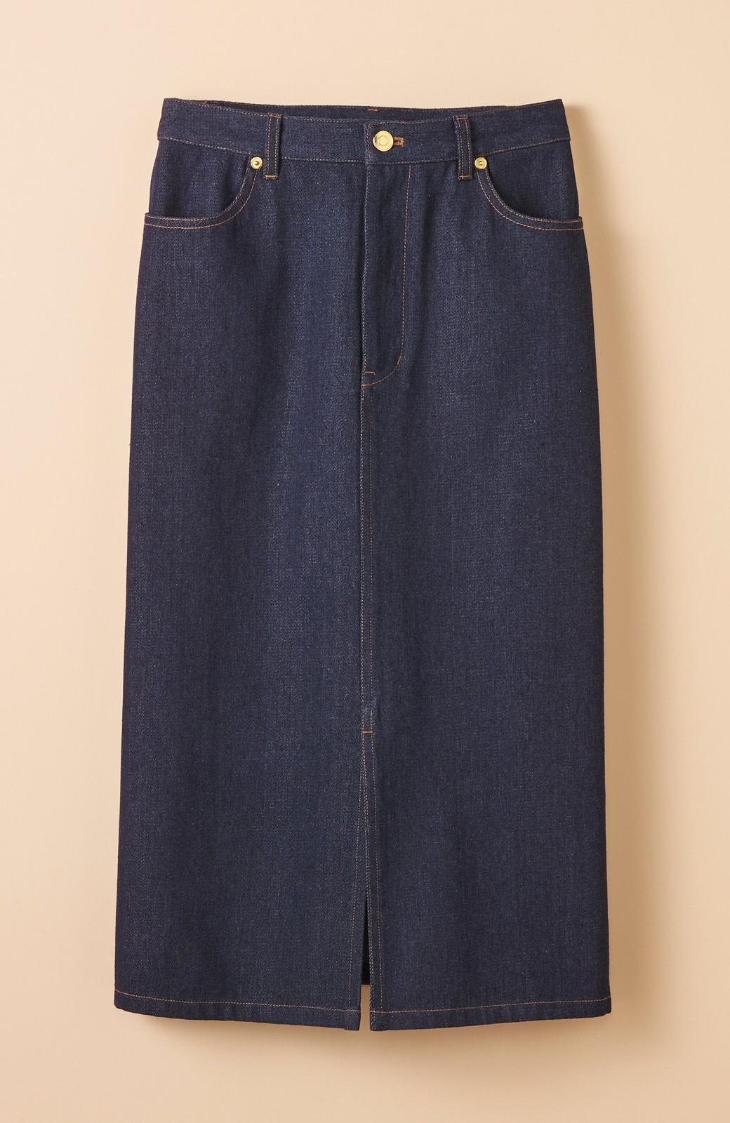 haco! 大人のためのIラインシルエットのデニムタイトスカート by que made me <インディゴブルー>の商品写真2