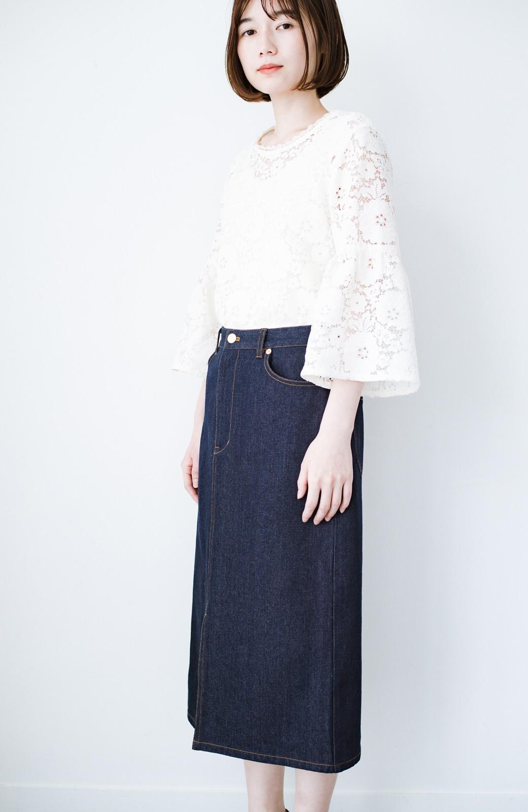 haco! 大人のためのIラインシルエットのデニムタイトスカート by que made me <インディゴブルー>の商品写真13