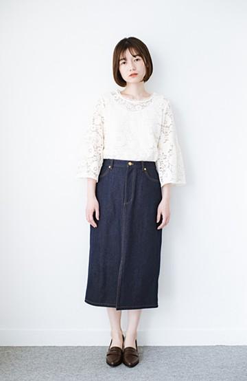 haco! 大人のためのIラインシルエットのデニムタイトスカート by que made me <インディゴブルー>の商品写真