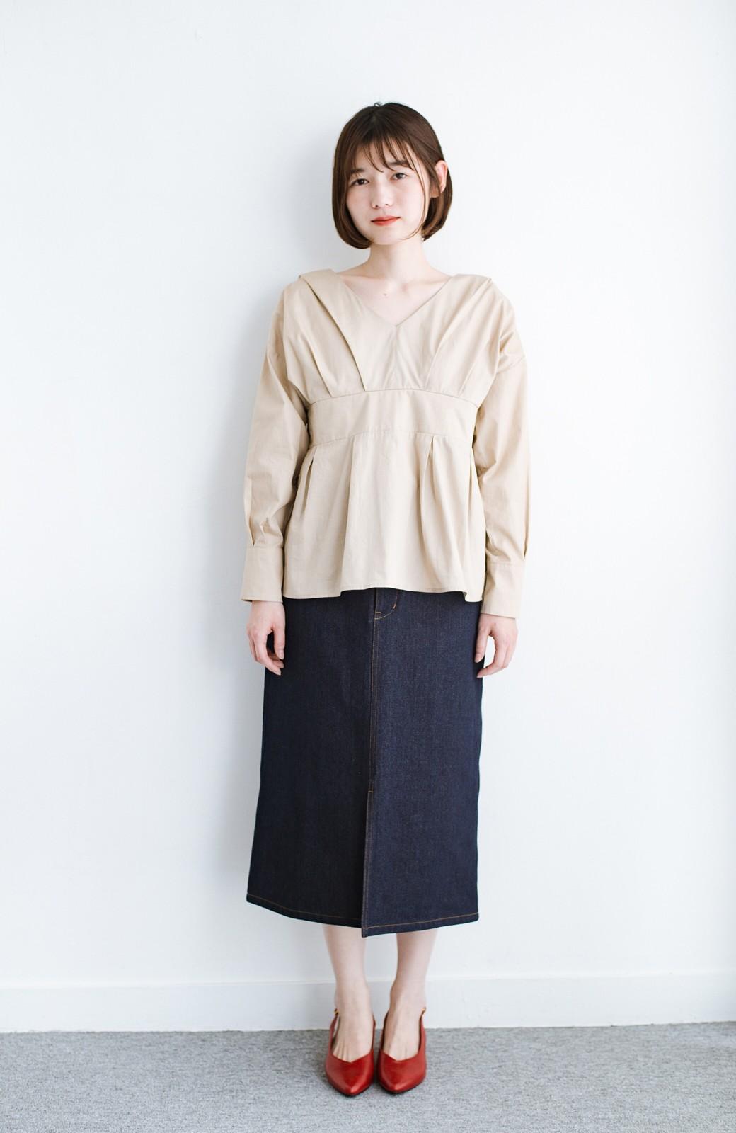 haco! 大人のためのIラインシルエットのデニムタイトスカート by que made me <インディゴブルー>の商品写真10