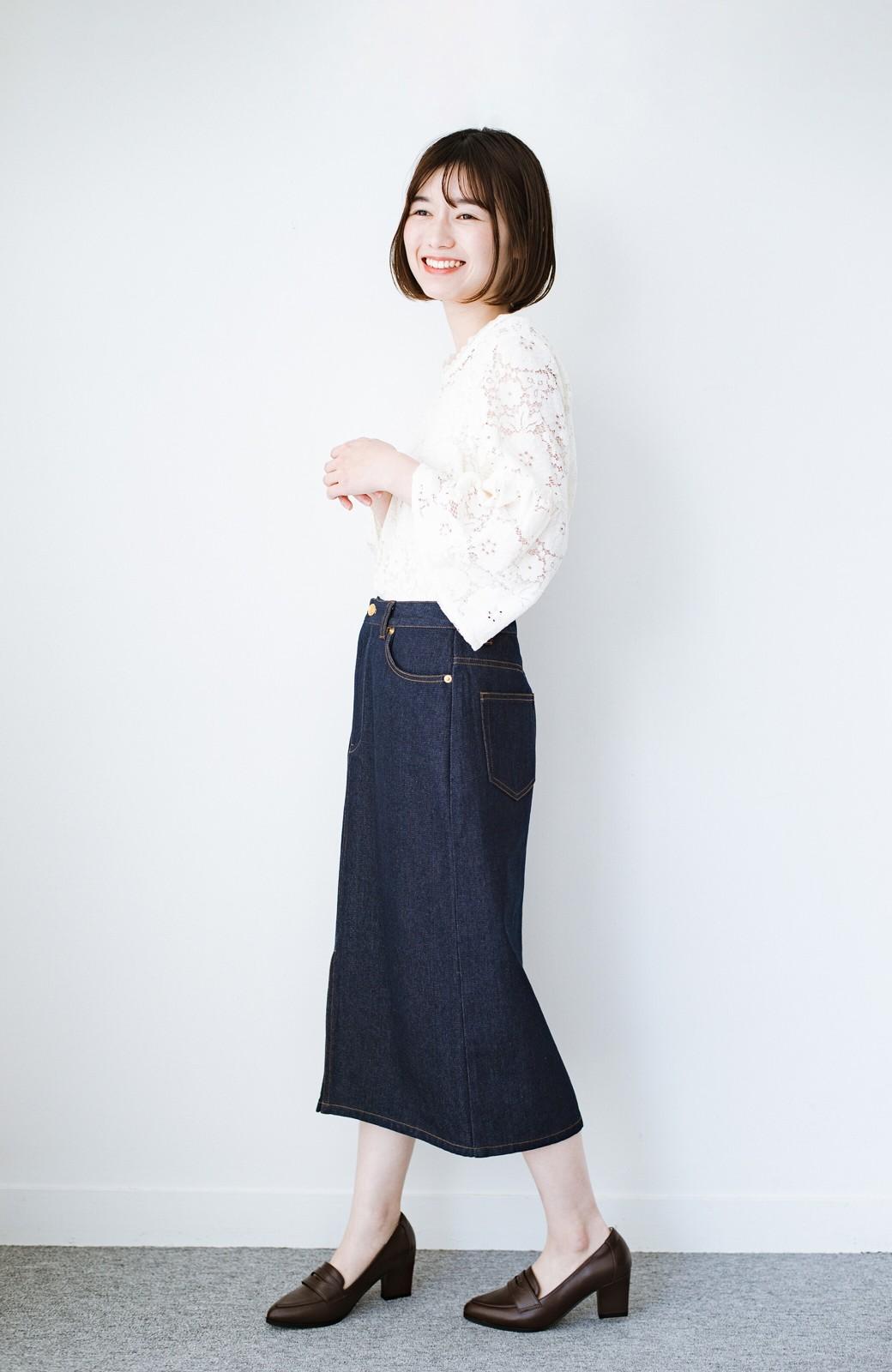 haco! 大人のためのIラインシルエットのデニムタイトスカート by que made me <インディゴブルー>の商品写真11