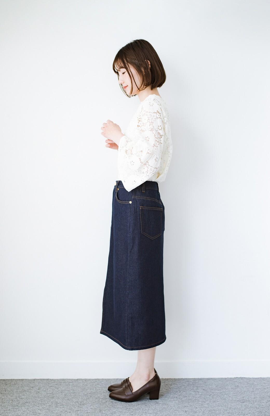 haco! 大人のためのIラインシルエットのデニムタイトスカート by que made me <インディゴブルー>の商品写真12