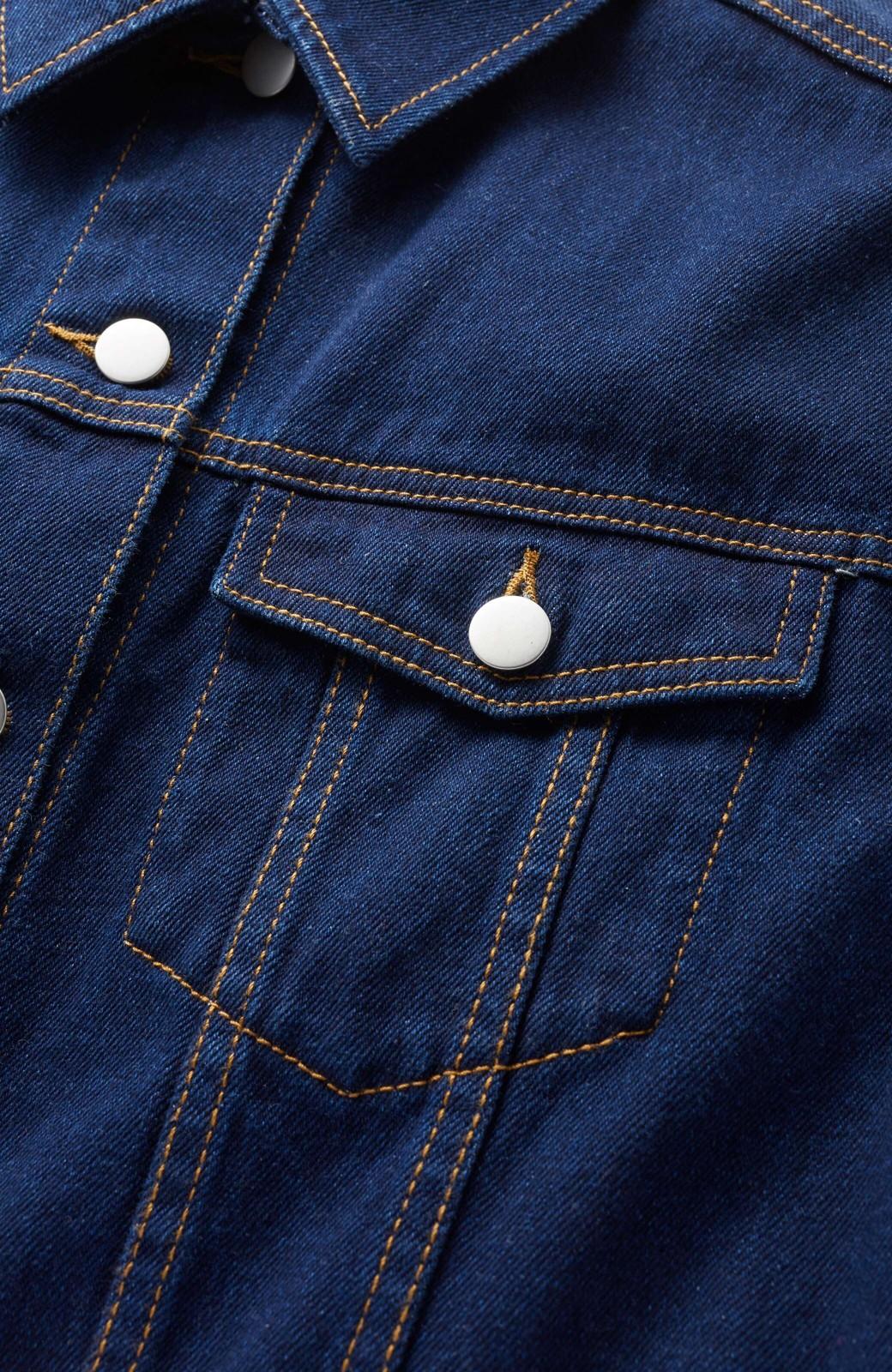 haco! ワンピースとしても楽しめるきれいめロングデニムジャケット <インディゴブルー>の商品写真3