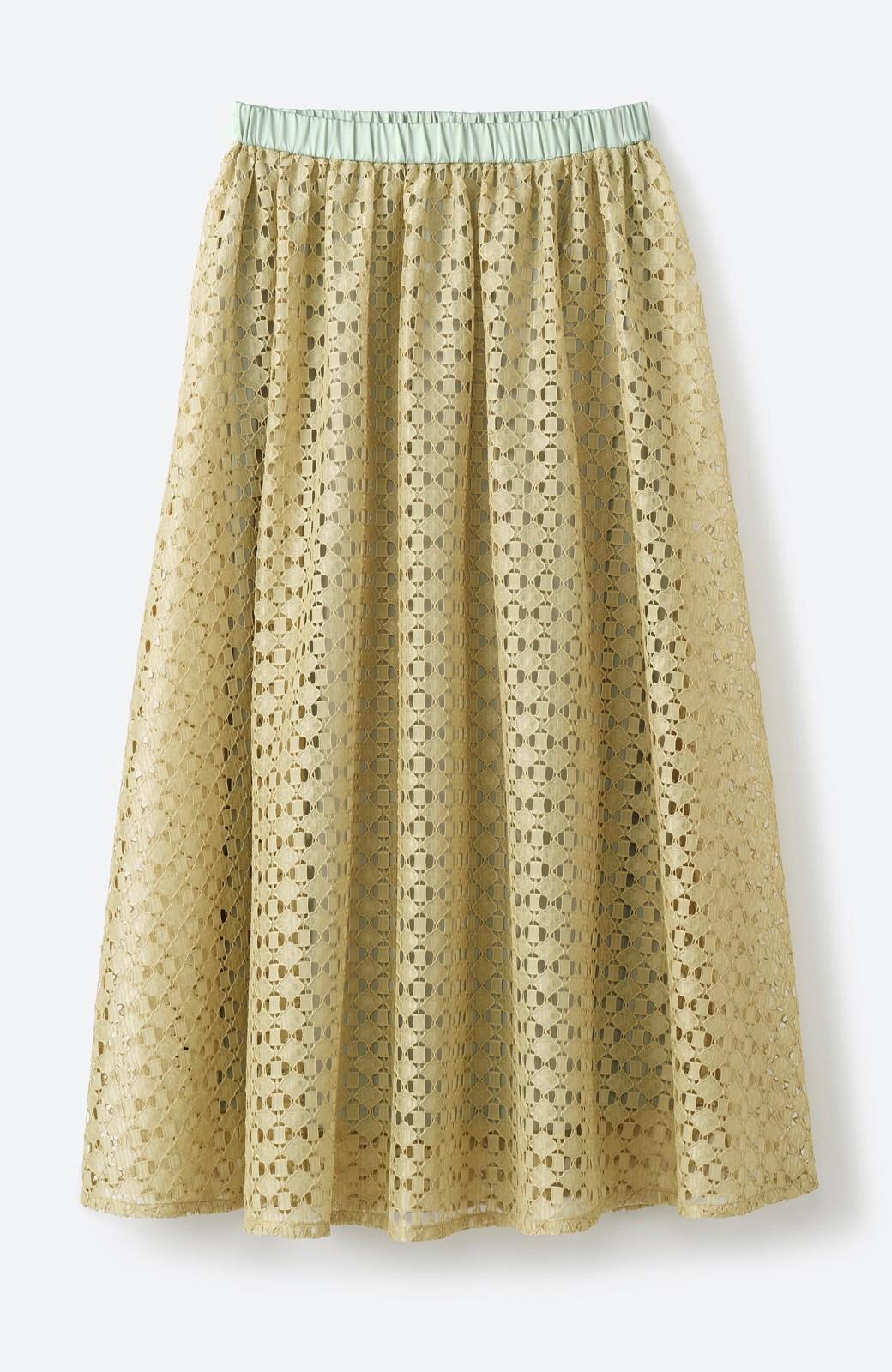 haco! 【洗濯機洗いOK】華やぎコーデを完成させる スクエアレースのカラーロングスカート <ライトカーキ>の商品写真2