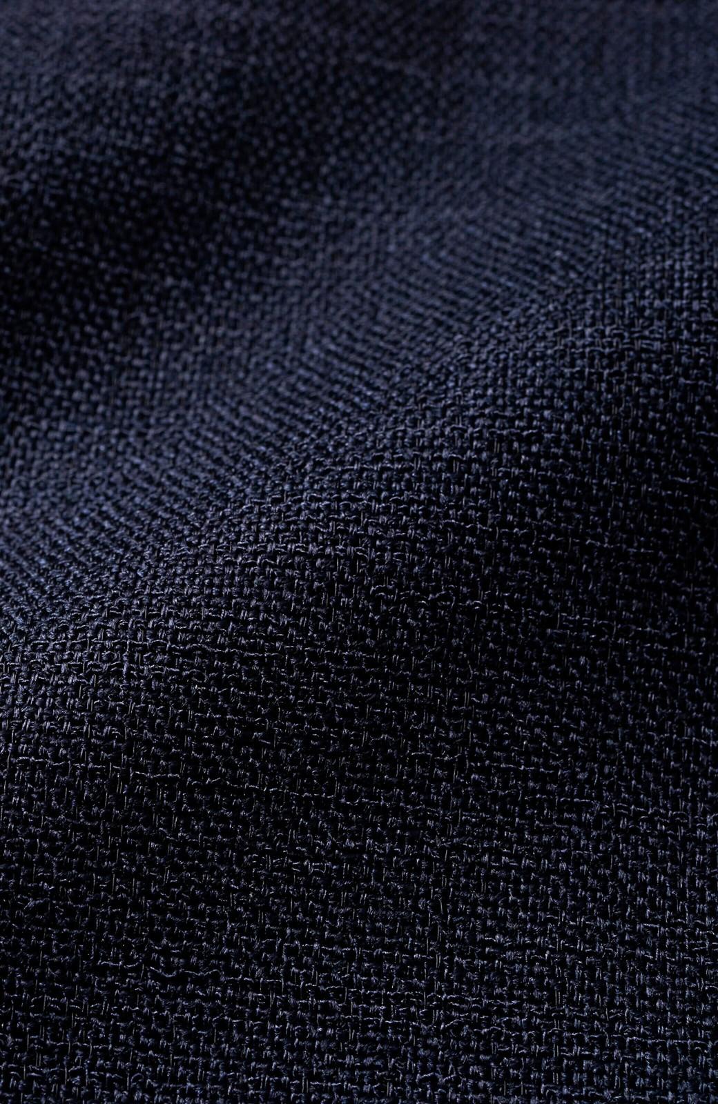 haco! ゆったりシルエットなのにきれいに見せてくれる 麻調素材のウエストリボンワンピース <ネイビー>の商品写真3