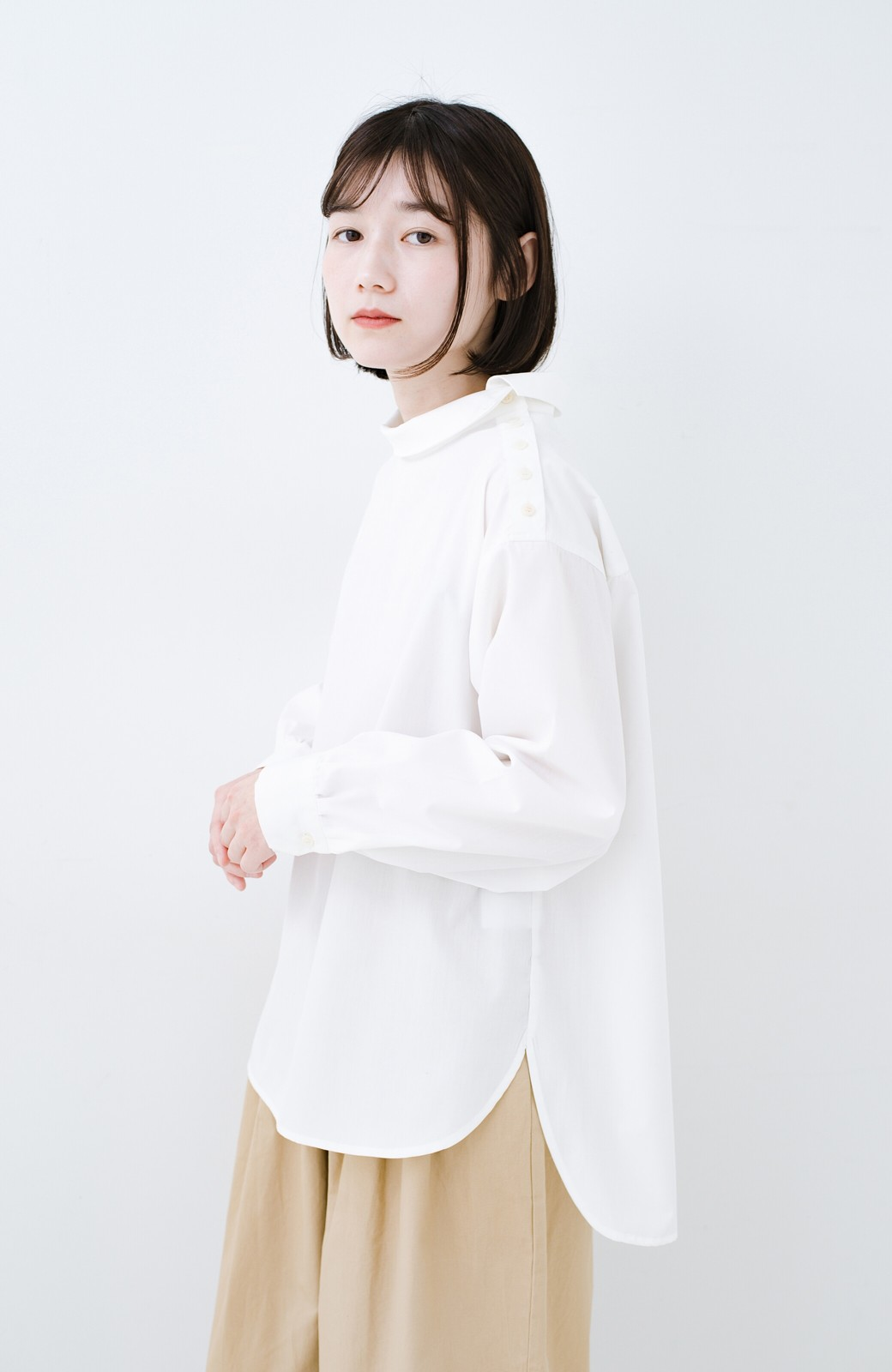 haco! 凛とした気分になる ロールネックシャツ <ホワイト>の商品写真1