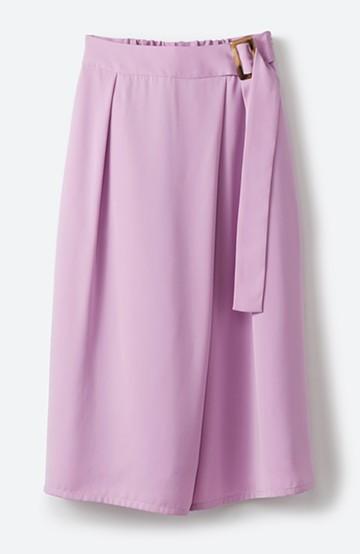 haco! スカート見えしつつ ちゃんと動きやすいバックル付きフレアーパンツ <ピンク>の商品写真
