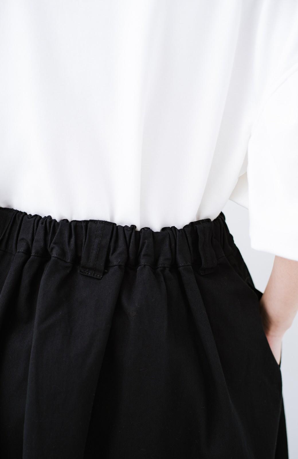 haco! ロングシーズン楽しめる タックボリュームのチノロングスカート <ブラック>の商品写真9