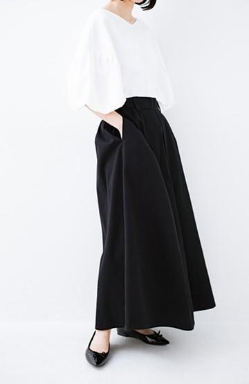 haco! ロングシーズン楽しめる タックボリュームのチノロングスカート <ブラック>の商品写真