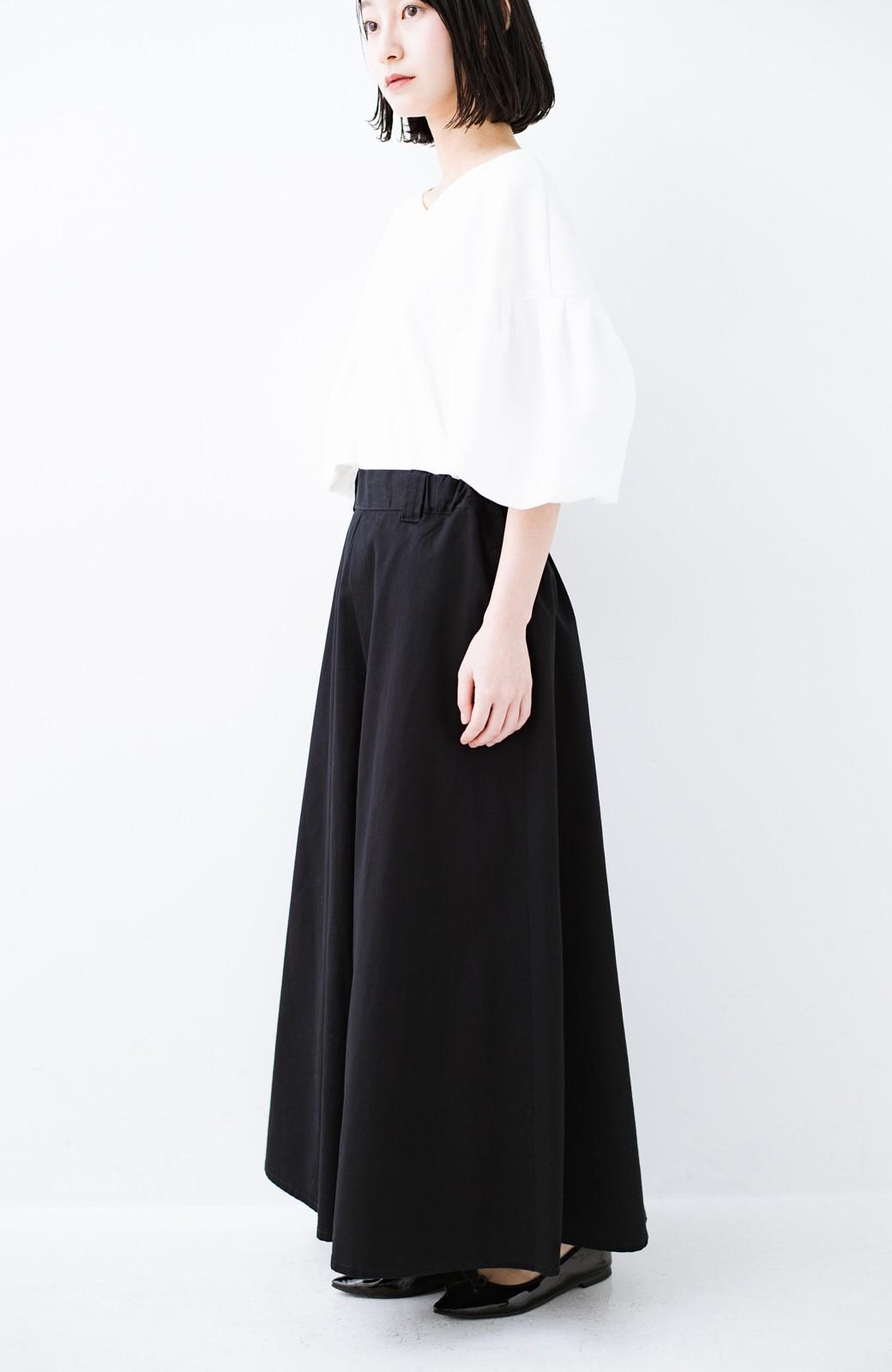 haco! ロングシーズン楽しめる タックボリュームのチノロングスカート <ブラック>の商品写真3