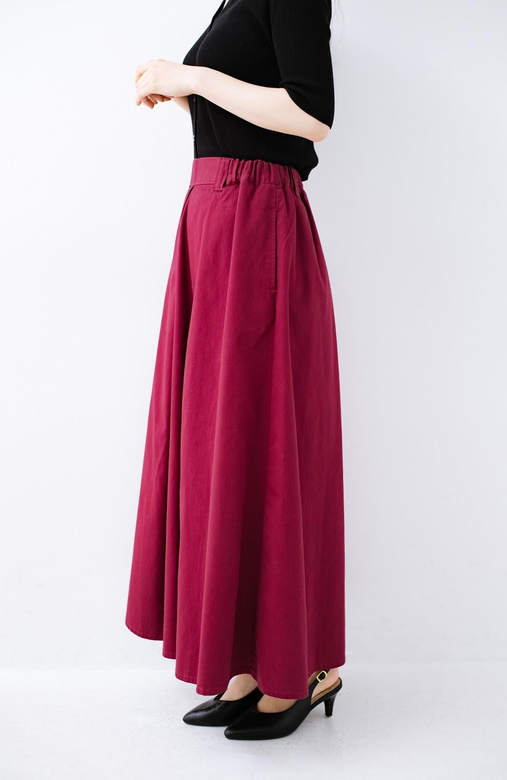 haco! ロングシーズン楽しめる タックボリュームのチノロングスカート <パープル>の商品写真4