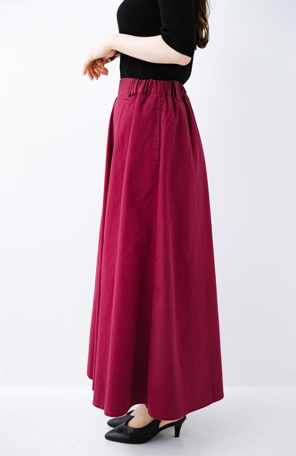 haco! ロングシーズン楽しめる タックボリュームのチノロングスカート <パープル>の商品写真5