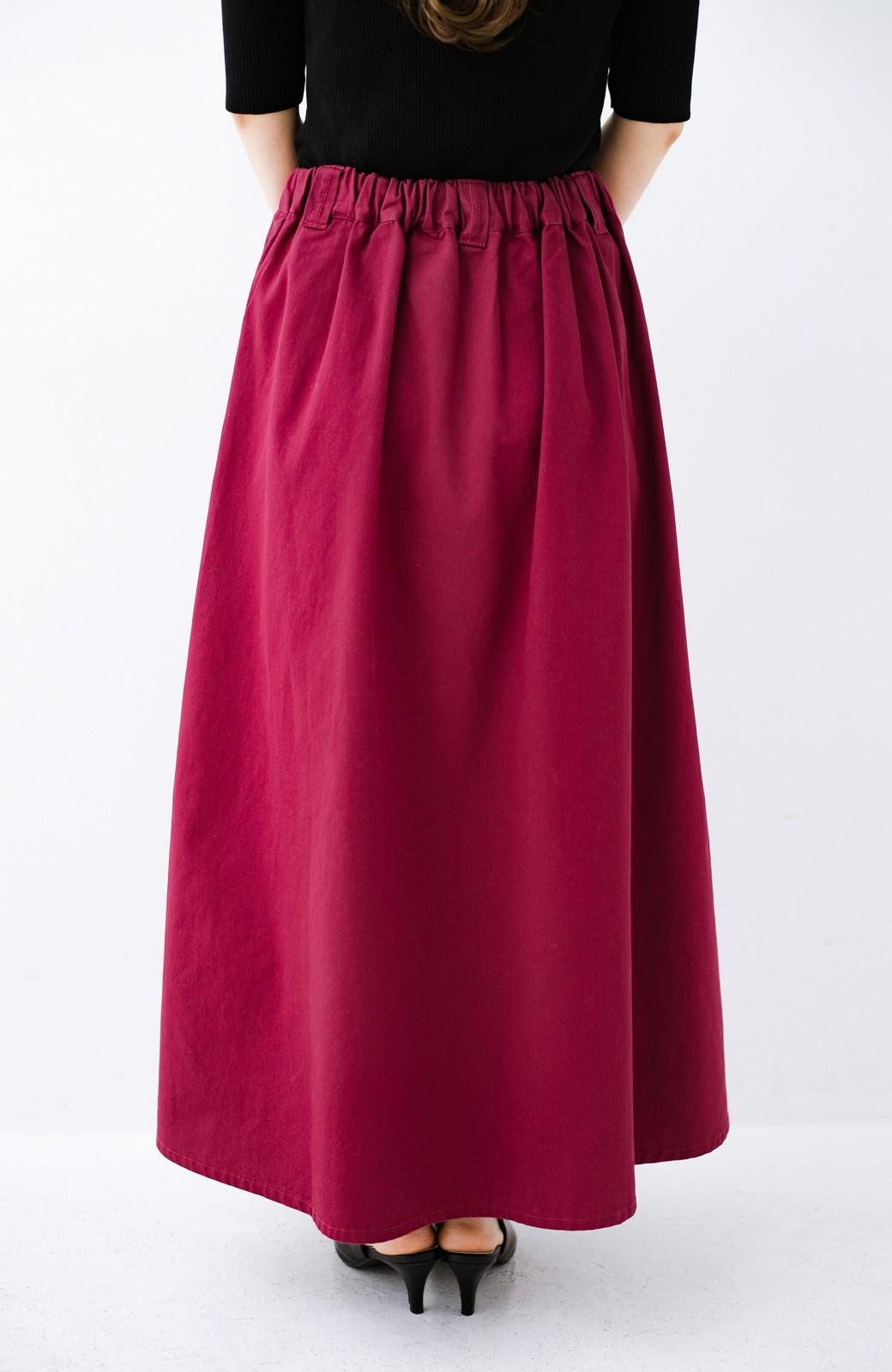 haco! ロングシーズン楽しめる タックボリュームのチノロングスカート <パープル>の商品写真6