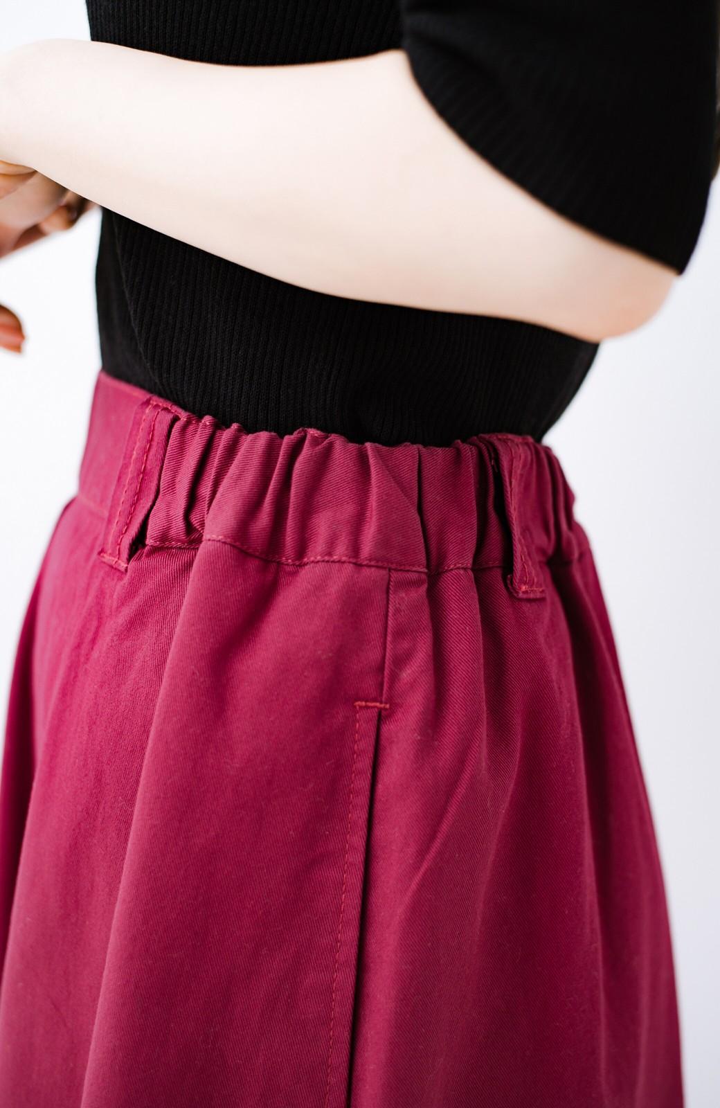 haco! ロングシーズン楽しめる タックボリュームのチノロングスカート <パープル>の商品写真7