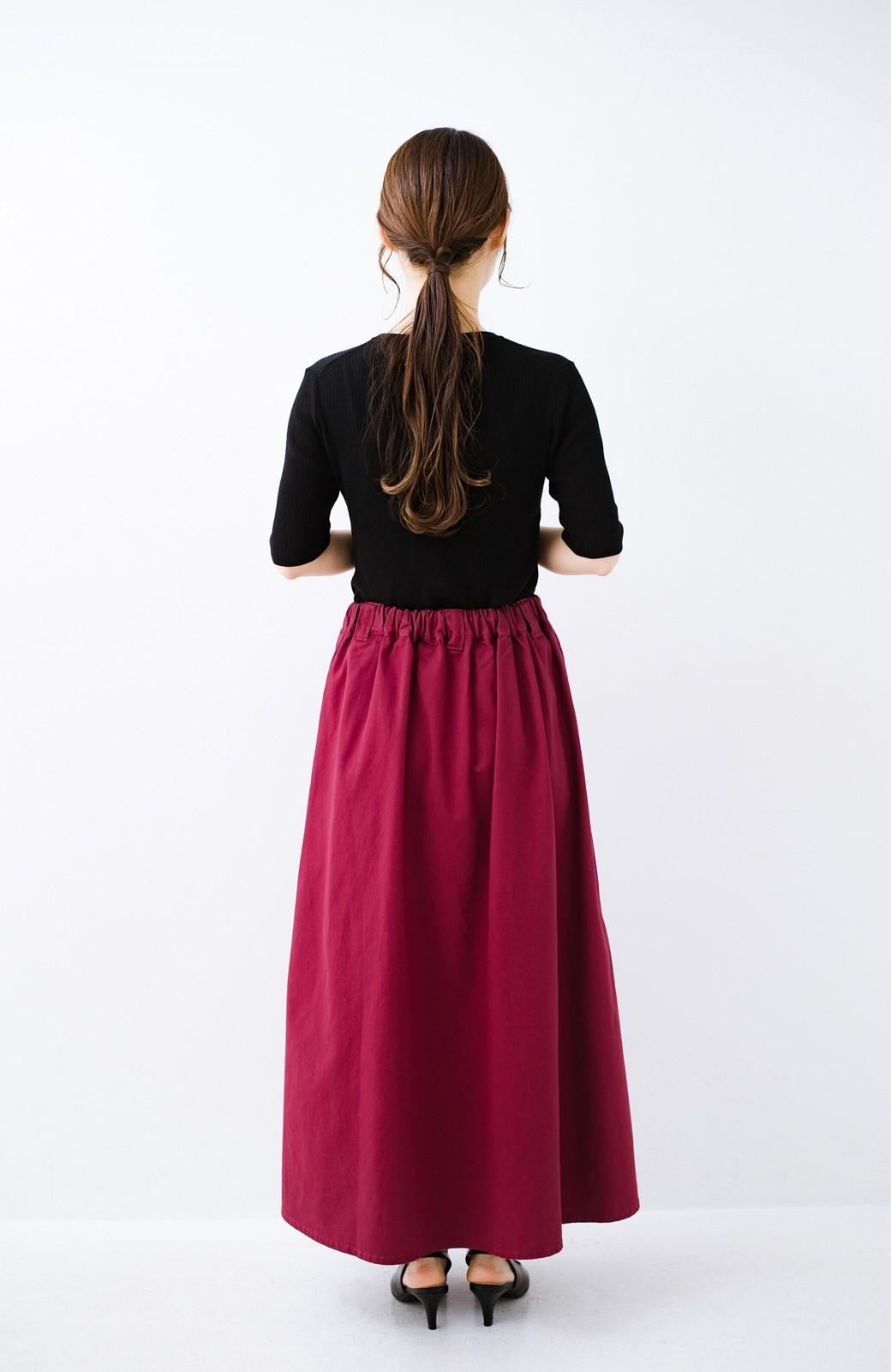 haco! ロングシーズン楽しめる タックボリュームのチノロングスカート <パープル>の商品写真13