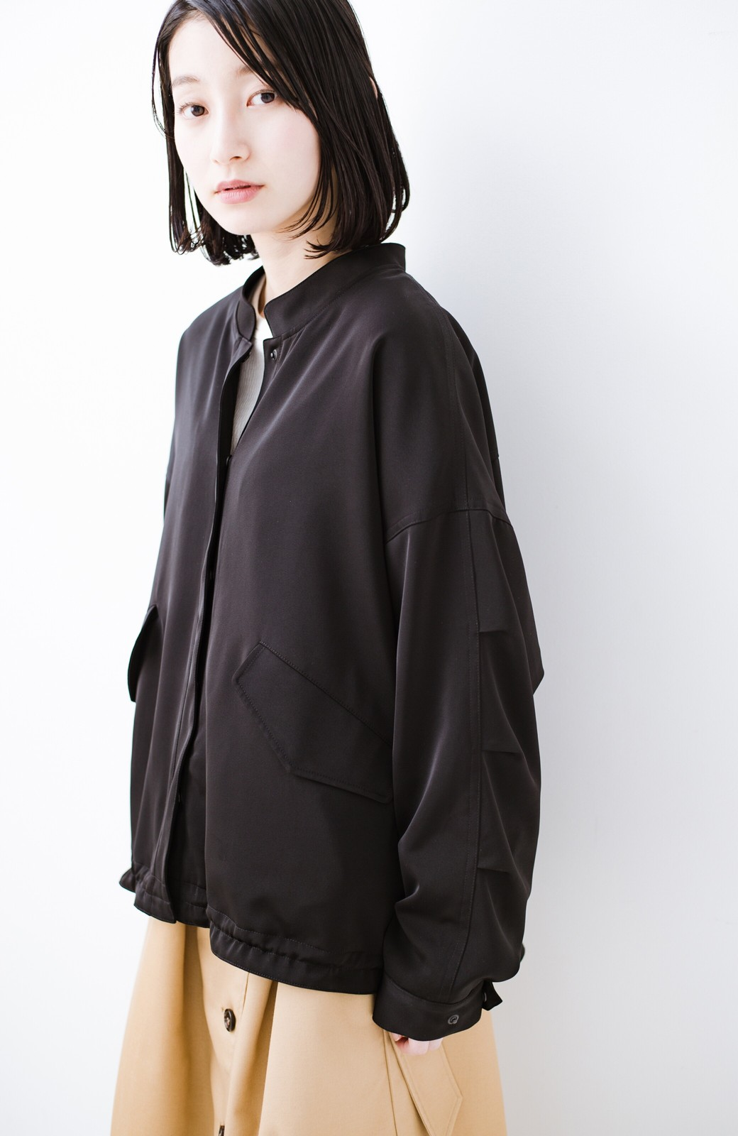 haco! 気軽に羽織ってかっこよくキマるオトナっぽブルゾンbyMAKORI <ブラック>の商品写真24