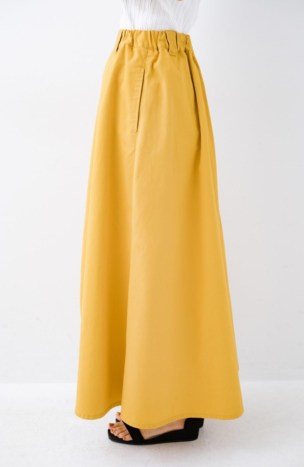 haco! ロングシーズン楽しめる タックボリュームのチノロングスカート <イエロー>の商品写真7