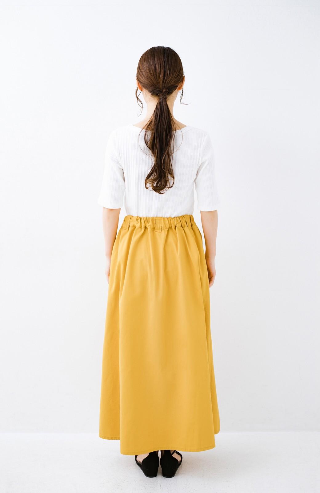 haco! ロングシーズン楽しめる タックボリュームのチノロングスカート <イエロー>の商品写真16