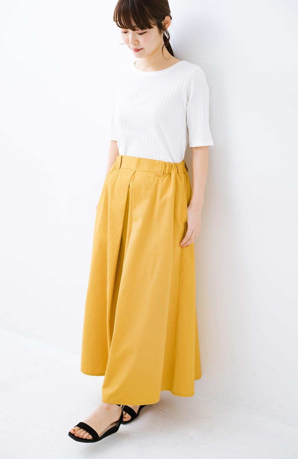 haco! ロングシーズン楽しめる タックボリュームのチノロングスカート <イエロー>の商品写真17