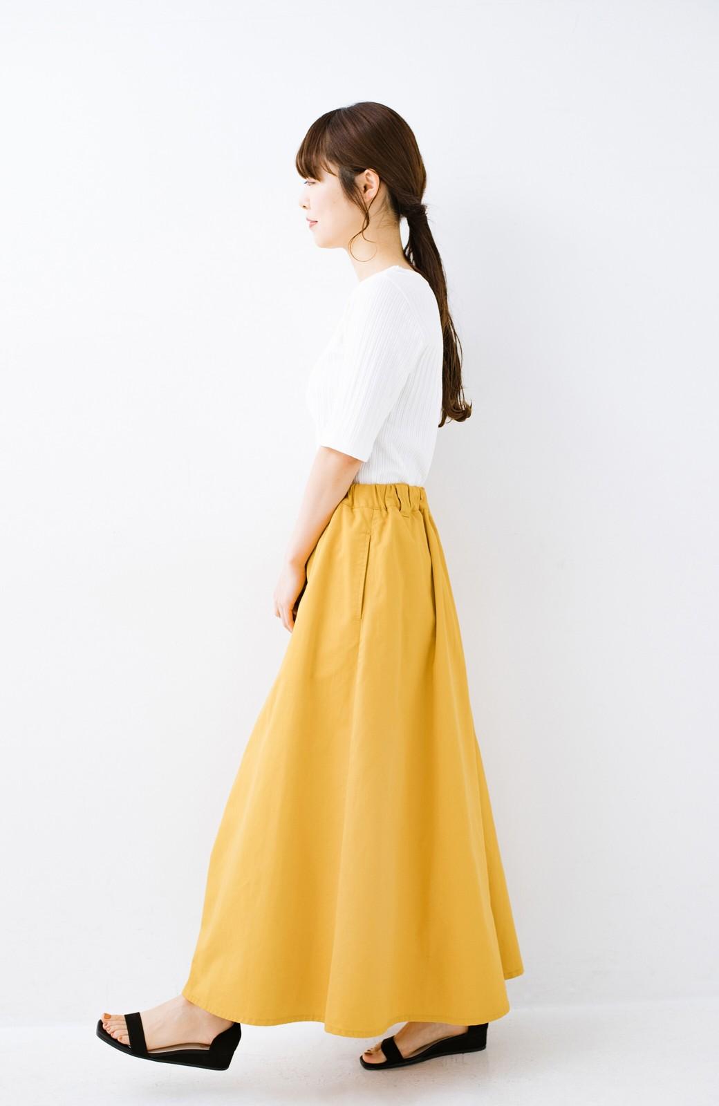 haco! ロングシーズン楽しめる タックボリュームのチノロングスカート <イエロー>の商品写真14