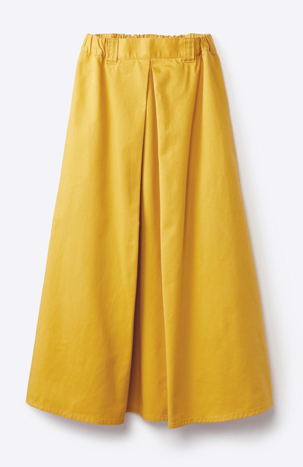 haco! ロングシーズン楽しめる タックボリュームのチノロングスカート <イエロー>の商品写真5