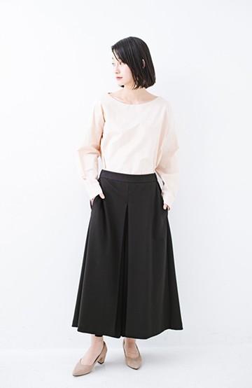haco! スカートのように見えて実は楽ちん!カットソーフレアーパンツ <ブラック>の商品写真
