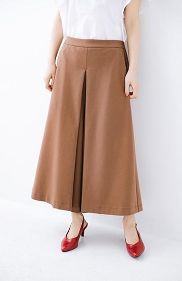 haco! スカートのように見えて実は楽ちん!カットソーフレアーパンツ <ライトブラウン>の商品写真