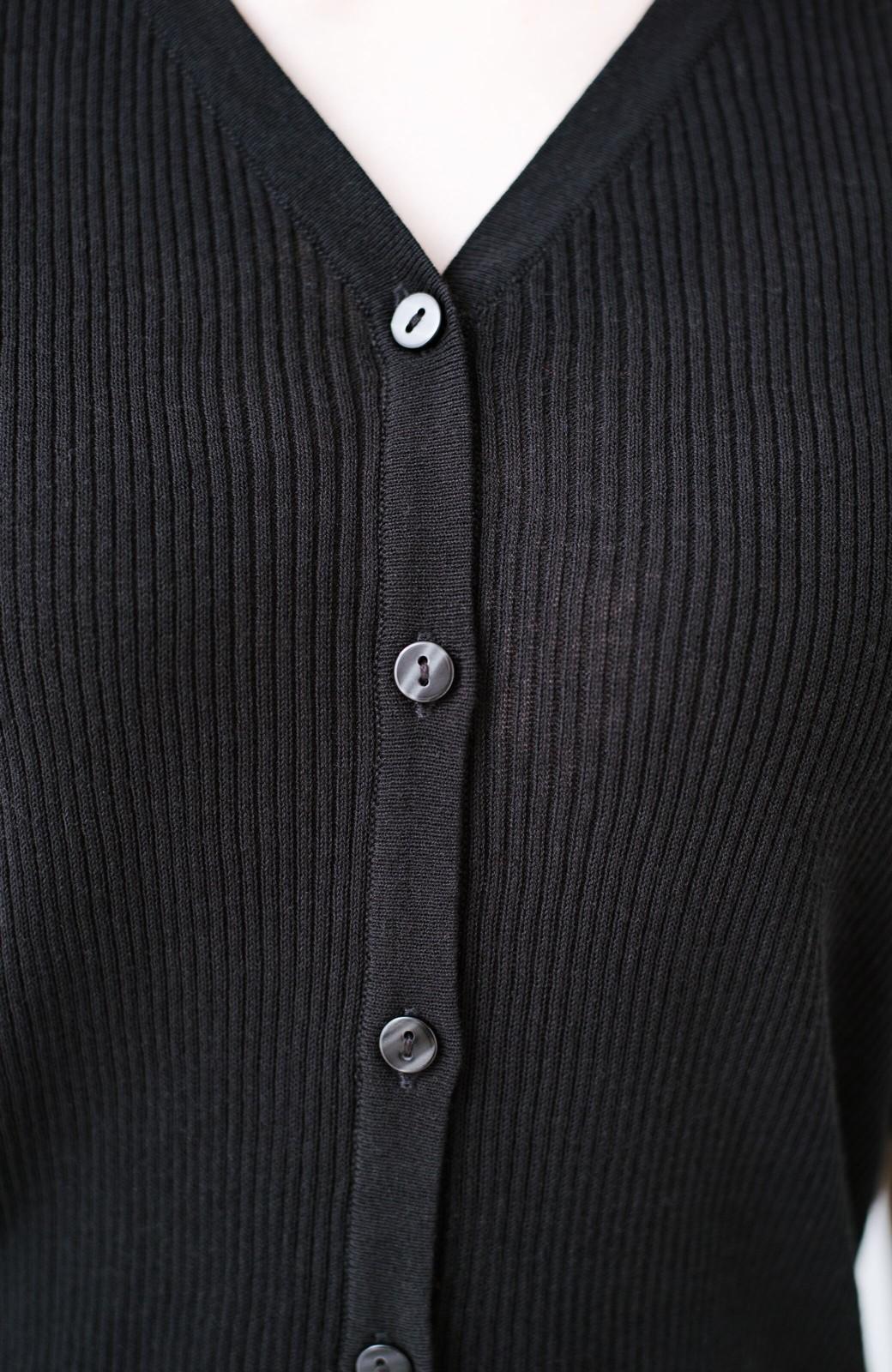 haco! 活躍間違いなしの洗えるきれいめオトナのカーディガントップス <ブラック>の商品写真7