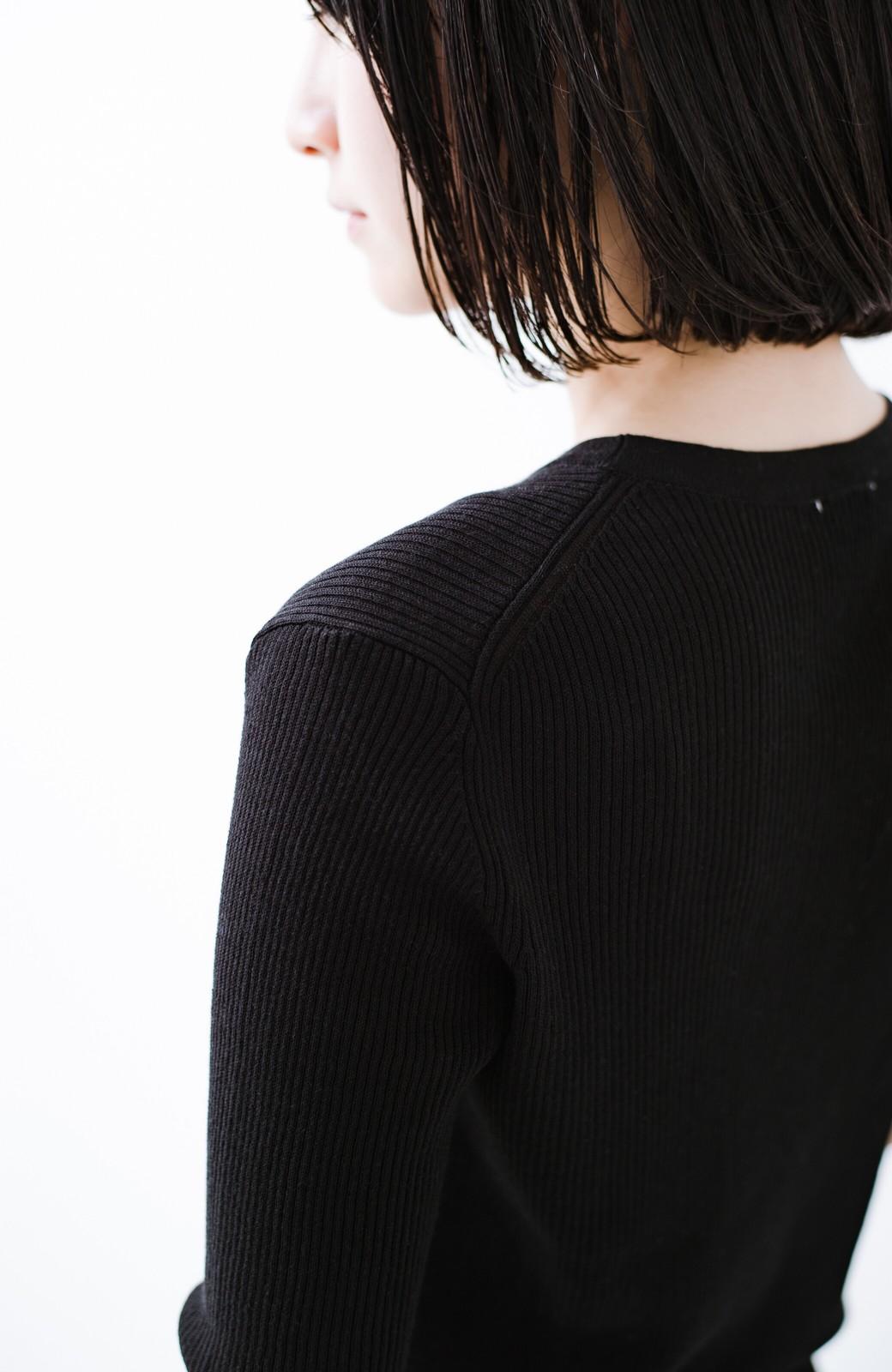 haco! 活躍間違いなしの洗えるきれいめオトナのカーディガントップス <ブラック>の商品写真12