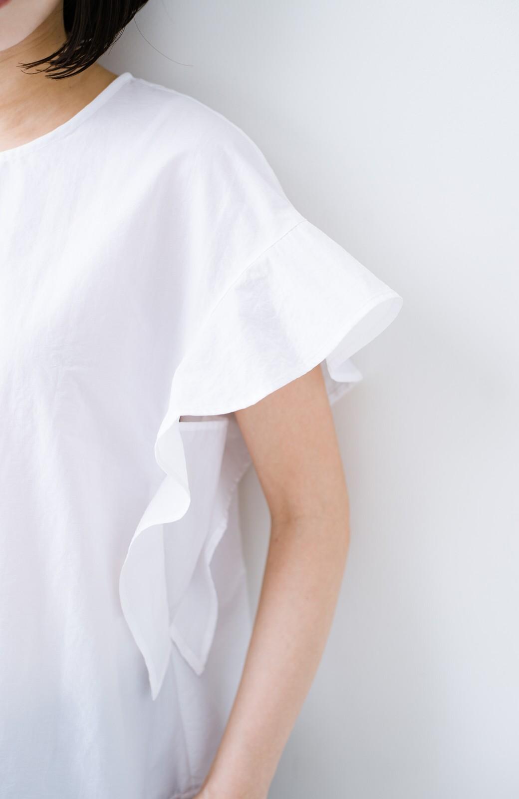 haco! 【洗濯機洗いOK】じゃぶじゃぶ洗える便利なフリルスリーブブラウス <ホワイト>の商品写真8