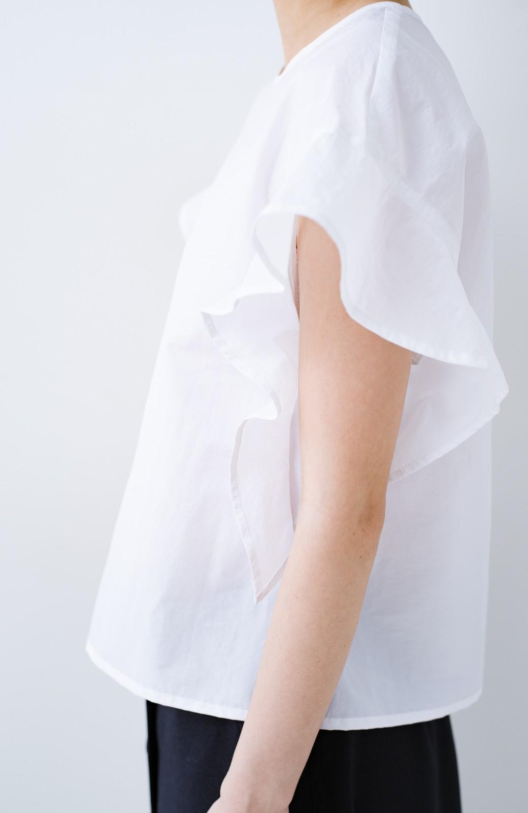 haco! 【洗濯機洗いOK】じゃぶじゃぶ洗える便利なフリルスリーブブラウス <ホワイト>の商品写真9