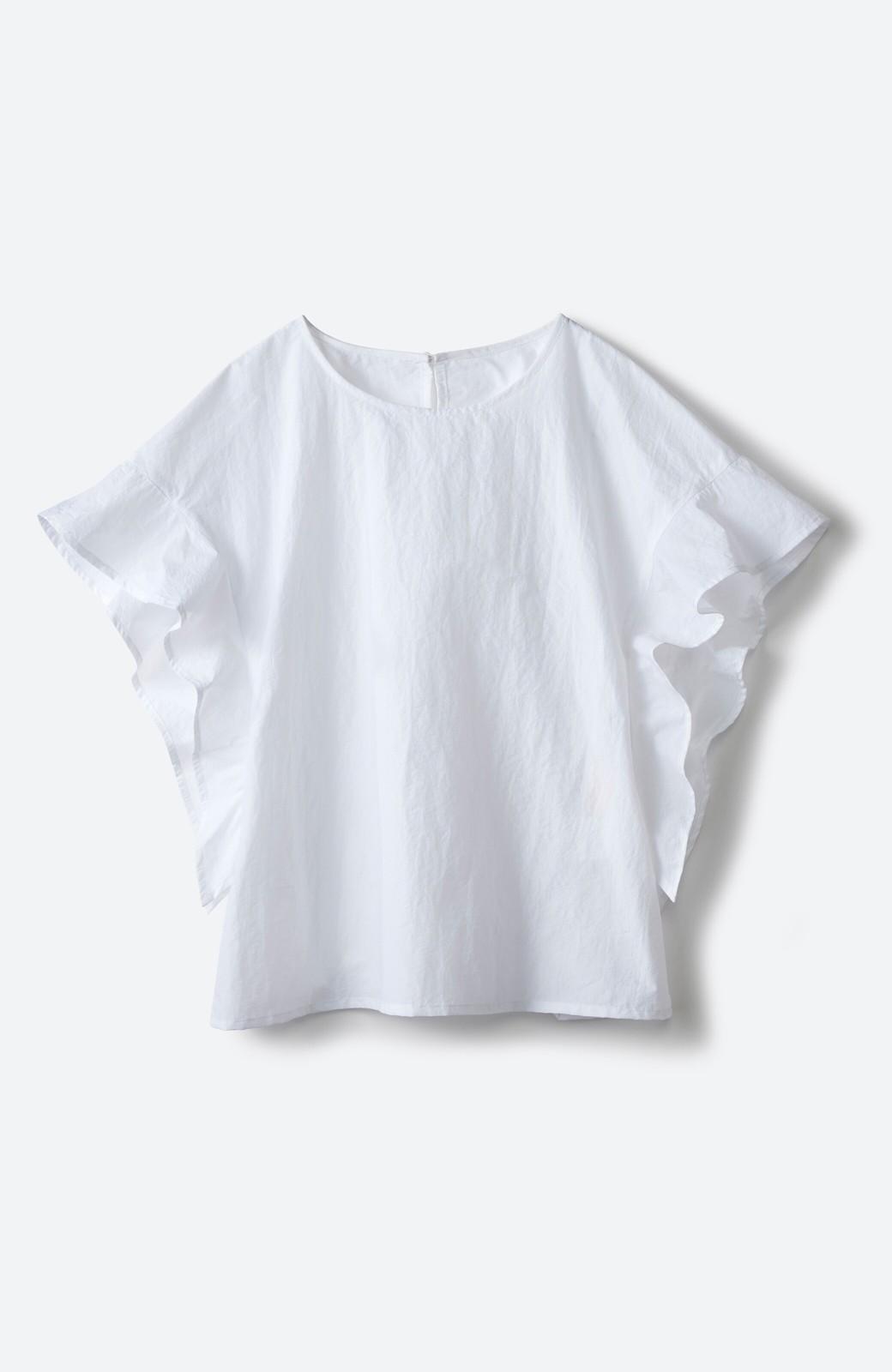 haco! 【洗濯機洗いOK】じゃぶじゃぶ洗える便利なフリルスリーブブラウス <ホワイト>の商品写真3