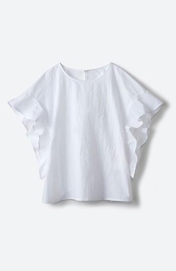 haco! じゃぶじゃぶ洗える便利なフリルスリーブブラウス <ホワイト>の商品写真