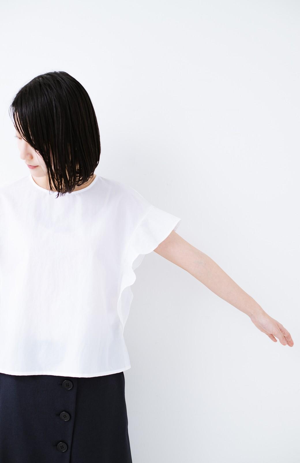 haco! 【洗濯機洗いOK】じゃぶじゃぶ洗える便利なフリルスリーブブラウス <ホワイト>の商品写真12