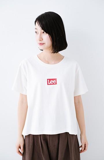 haco! 別注Lee ボックスロゴTシャツ <ホワイト×レッド>の商品写真
